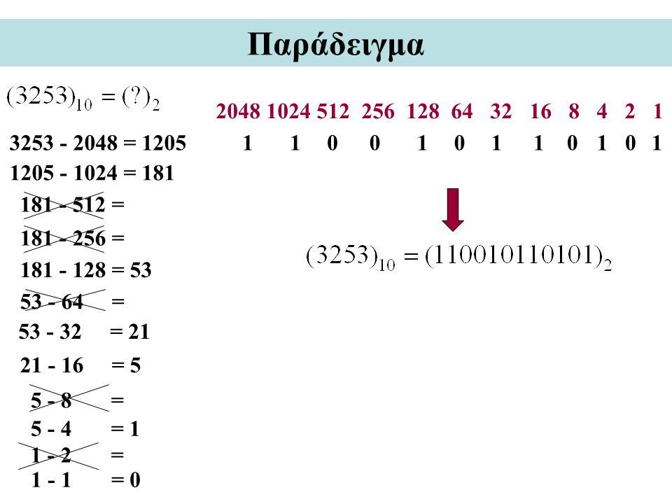 Παράδειγμα 2048 1024 512 256 128 64 32 16 8 4 2 1. 3253 - 2048 = 1205. 1. 1. 1. 1.