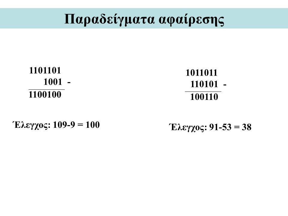 Παραδείγματα αφαίρεσης