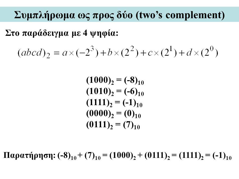 Συμπλήρωμα ως προς δύο (two's complement)