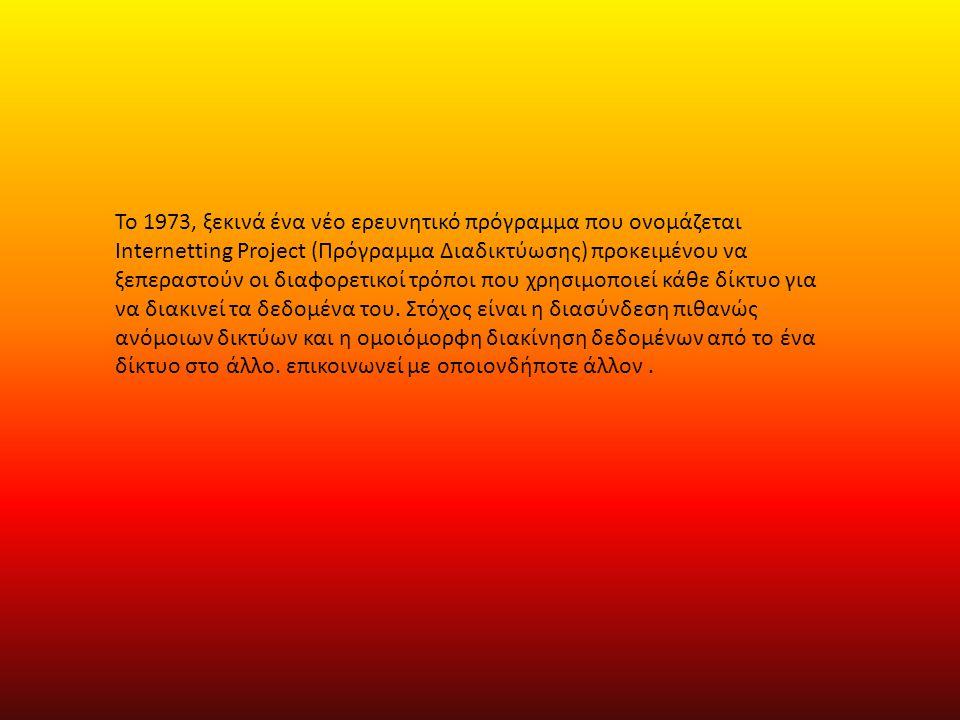 Το 1973, ξεκινά ένα νέο ερευνητικό πρόγραμμα που ονομάζεται Internetting Project (Πρόγραμμα Διαδικτύωσης) προκειμένου να ξεπεραστούν οι διαφορετικοί τρόποι που χρησιμοποιεί κάθε δίκτυο για να διακινεί τα δεδομένα του.