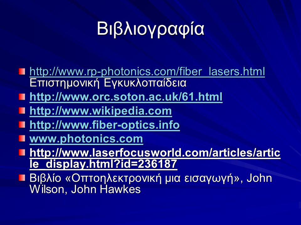 Βιβλιογραφία http://www.rp-photonics.com/fiber_lasers.html Επιστημονική Εγκυκλοπαίδεια. http://www.orc.soton.ac.uk/61.html.