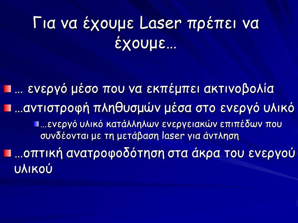 Για να έχουμε Laser πρέπει να έχουμε…
