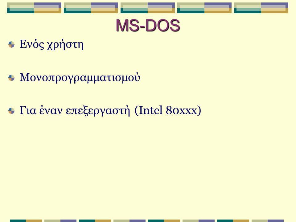 MS-DOS Ενός χρήστη Μονοπρογραμματισμού