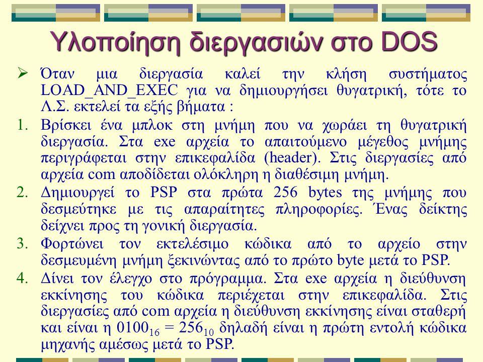 Υλοποίηση διεργασιών στο DOS