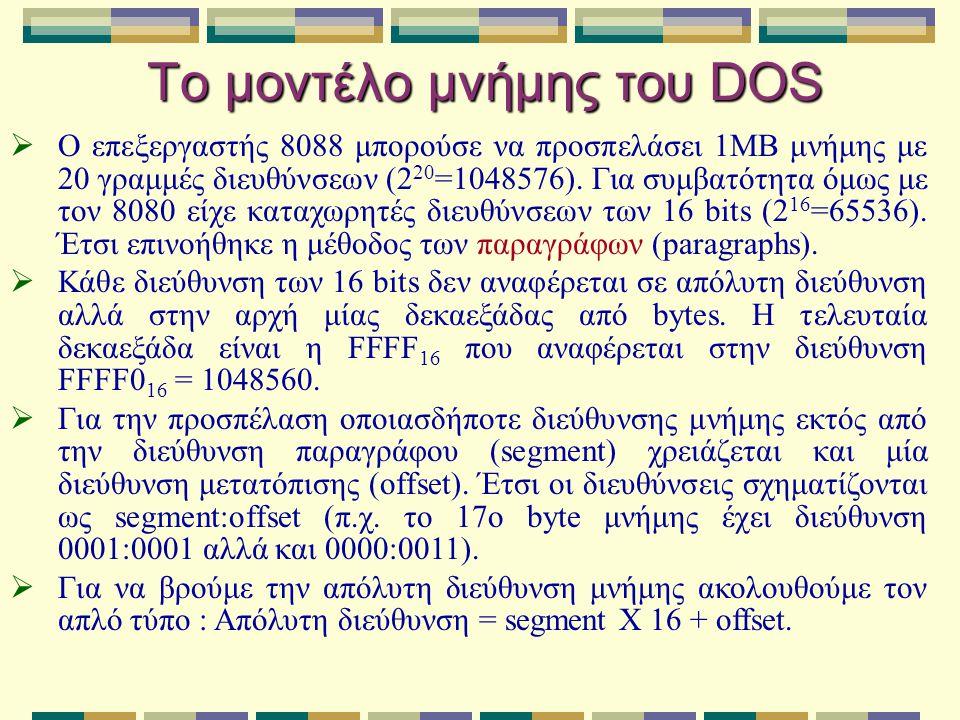 Το μοντέλο μνήμης του DOS