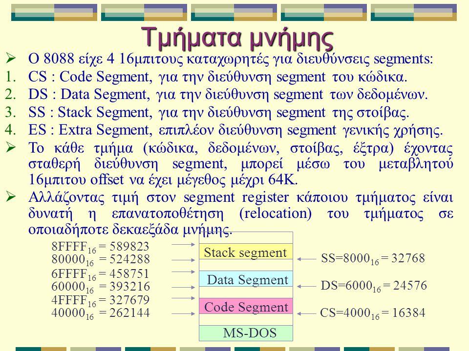 Τμήματα μνήμης Ο 8088 είχε 4 16μπιτους καταχωρητές για διευθύνσεις segments: CS : Code Segment, για την διεύθυνση segment του κώδικα.