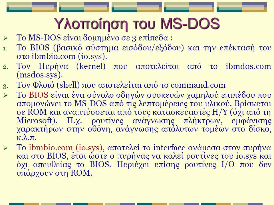Υλοποίηση του MS-DOS Το MS-DOS είναι δομημένο σε 3 επίπεδα :