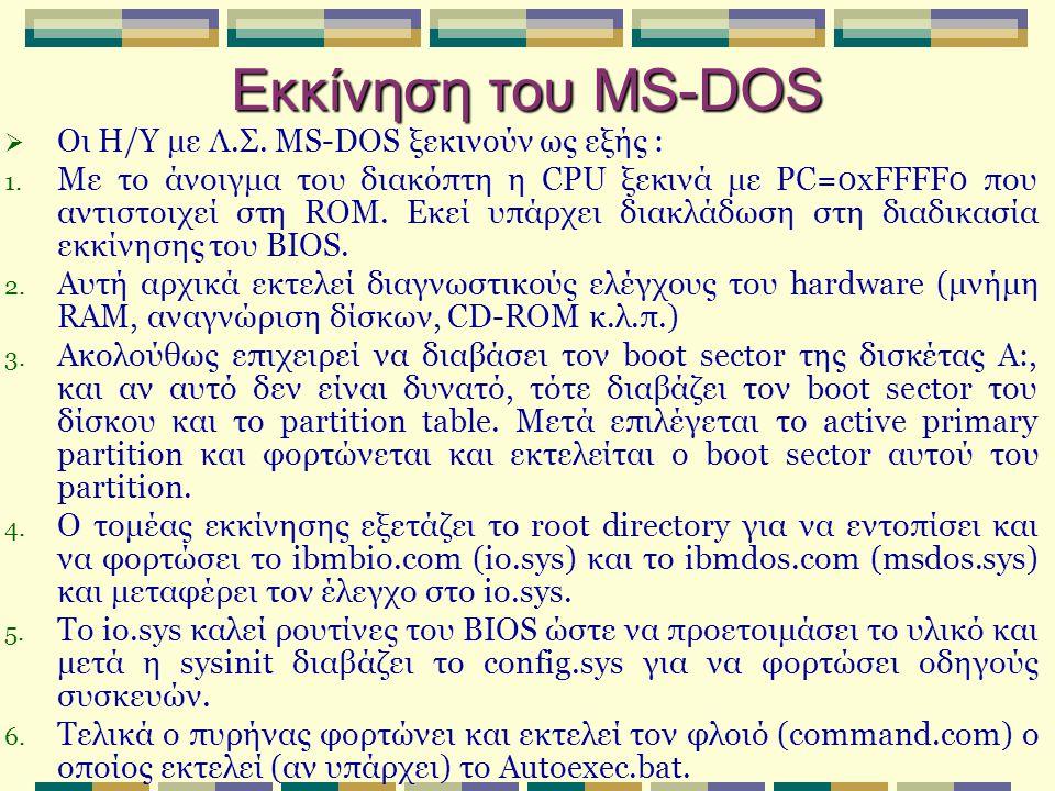 Εκκίνηση του MS-DOS Οι Η/Υ με Λ.Σ. MS-DOS ξεκινούν ως εξής :