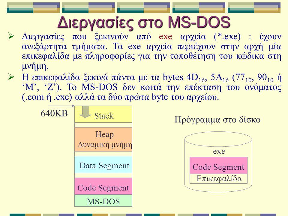 Διεργασίες στο MS-DOS