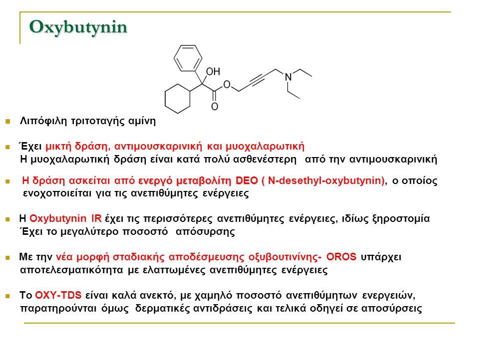 Oxybutynin Λιπόφιλη τριτοταγής αμίνη