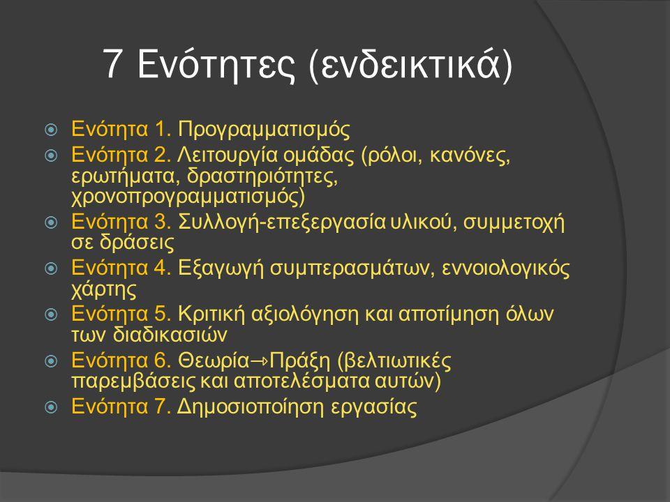 7 Ενότητες (ενδεικτικά)