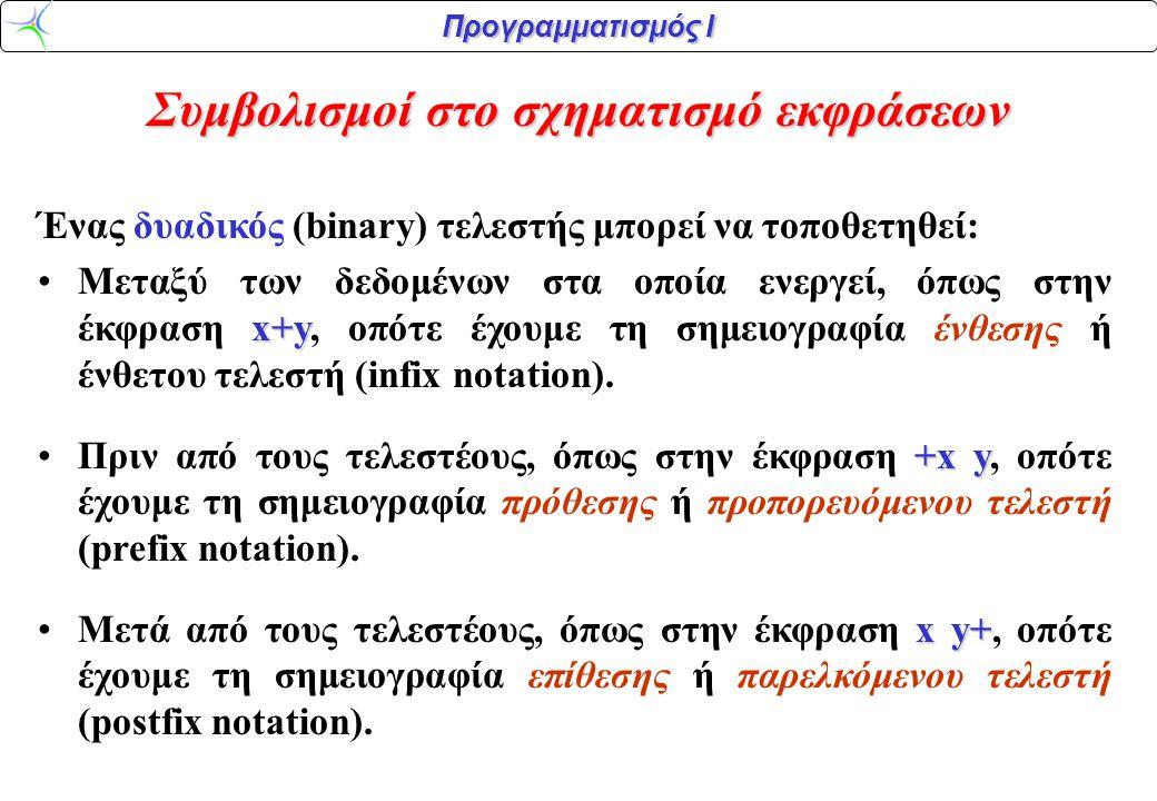 Συμβολισμοί στο σχηματισμό εκφράσεων