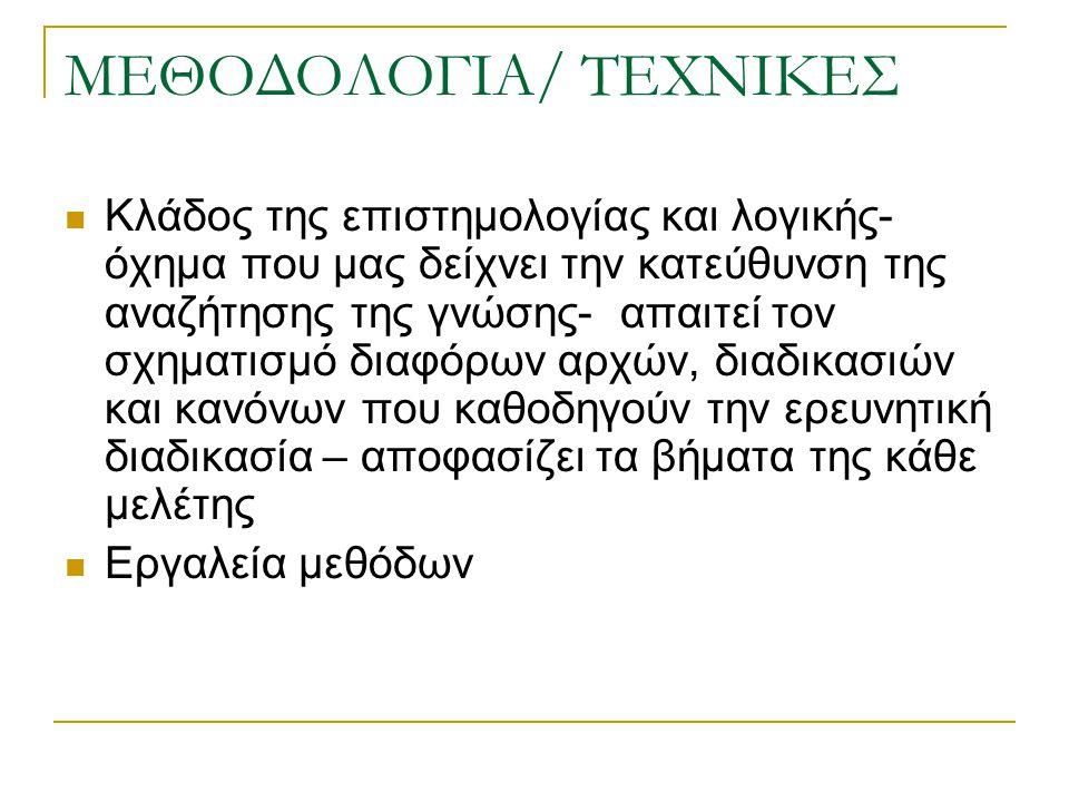 ΜΕΘΟΔΟΛΟΓΙΑ/ ΤΕΧΝΙΚΕΣ