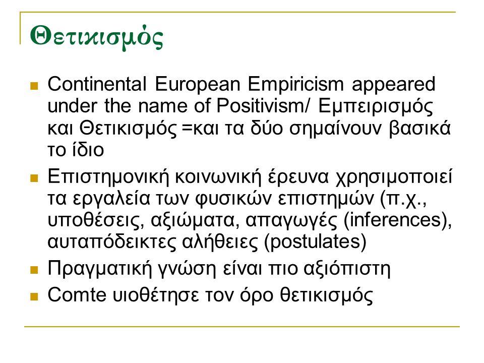 Θετικισμός Continental European Empiricism appeared under the name of Positivism/ Εμπειρισμός και Θετικισμός =και τα δύο σημαίνουν βασικά το ίδιο.