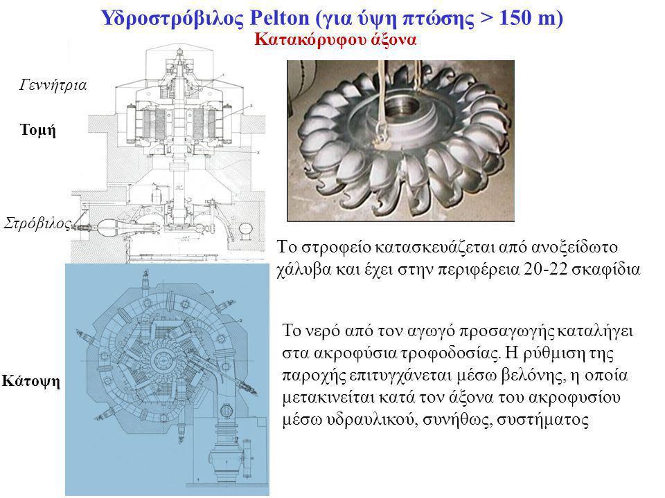 Υδροστρόβιλος Pelton (για ύψη πτώσης > 150 m)