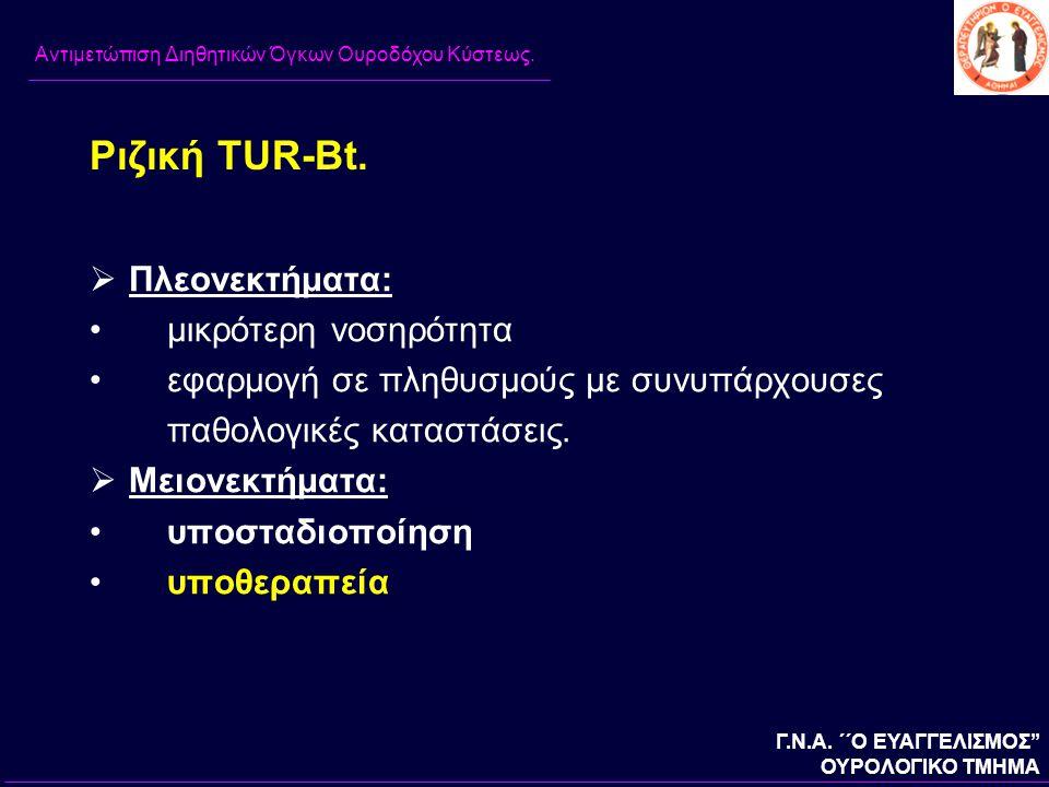Ριζική TUR-Bt. Πλεονεκτήματα: μικρότερη νοσηρότητα