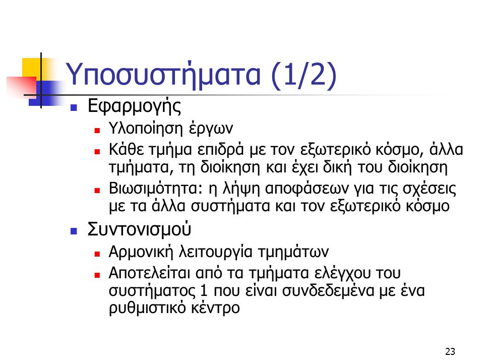 Υποσυστήματα (1/2) Εφαρμογής Συντονισμού Υλοποίηση έργων