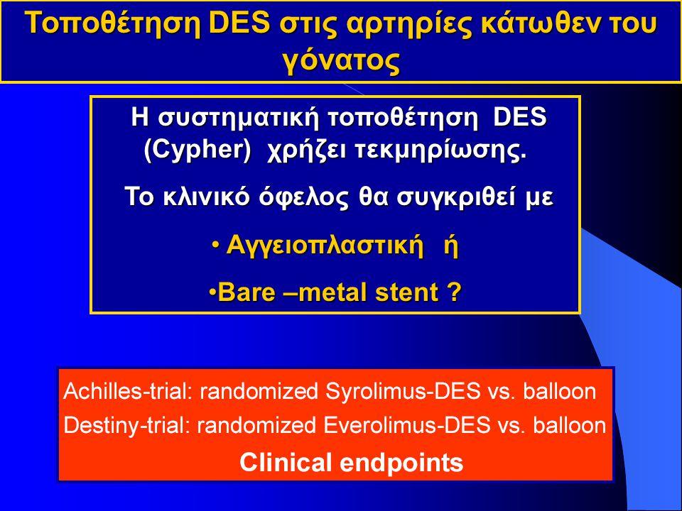 Τοποθέτηση DES στις αρτηρίες κάτωθεν του γόνατος