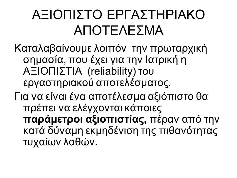 ΑΞΙΟΠΙΣΤΟ ΕΡΓΑΣΤΗΡΙΑΚΟ ΑΠΟΤΕΛΕΣΜΑ