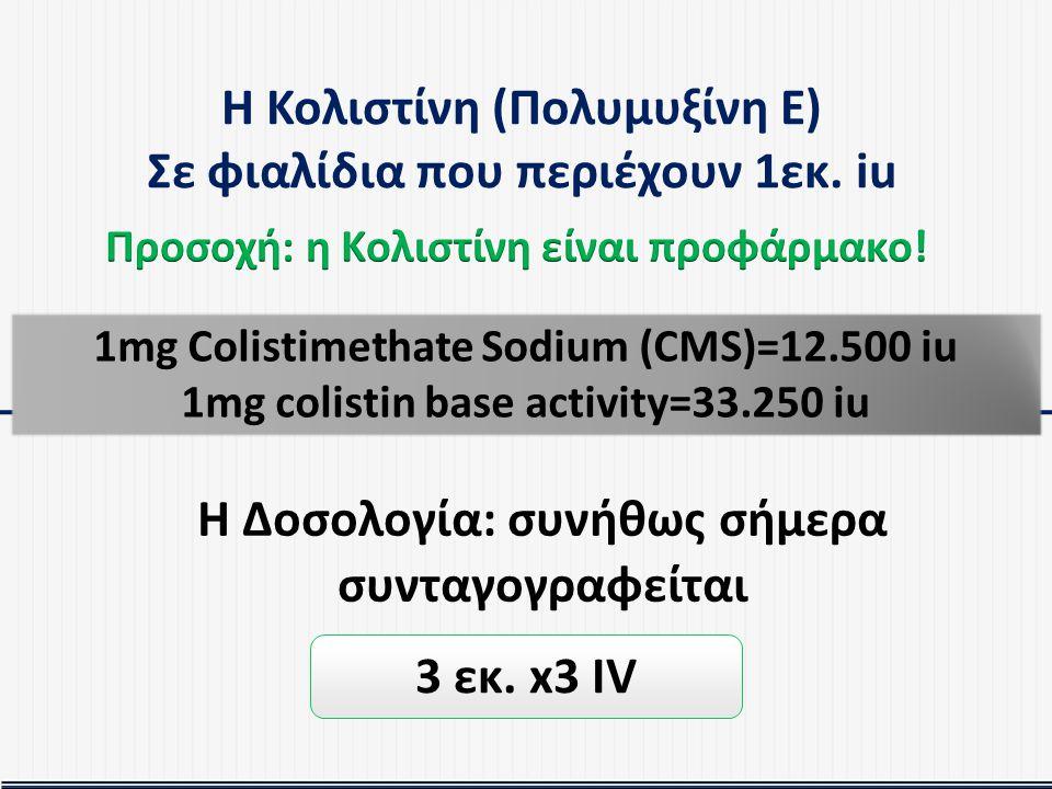 Η Κολιστίνη (Πολυμυξίνη Ε) Σε φιαλίδια που περιέχουν 1εκ. iu