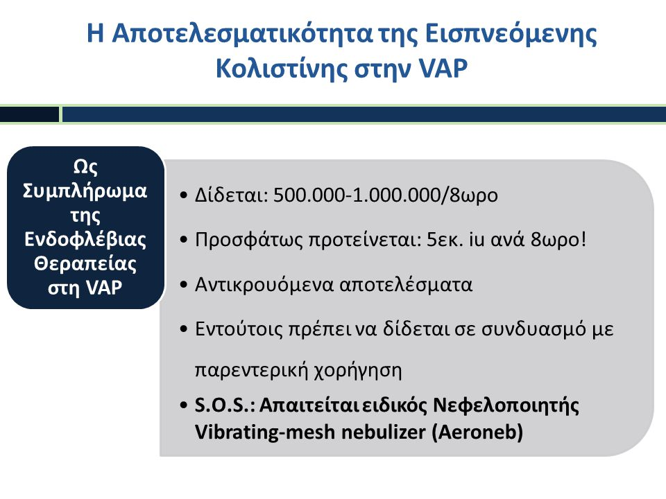 Η Αποτελεσματικότητα της Εισπνεόμενης Κολιστίνης στην VAP
