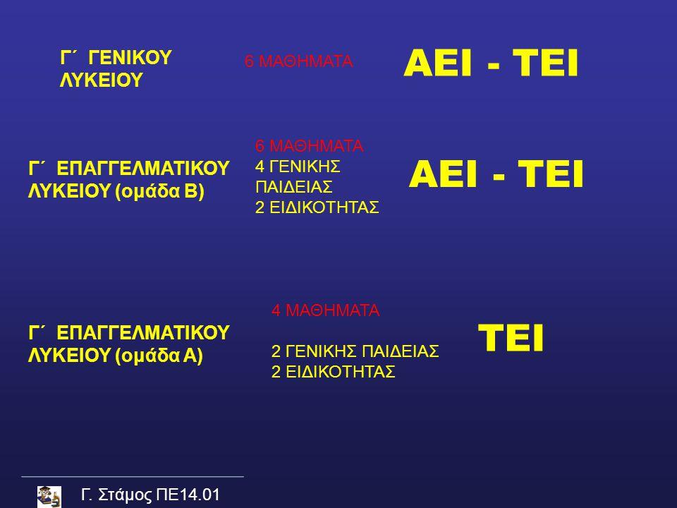 ΑΕΙ - ΤΕΙ ΑΕΙ - ΤΕΙ ΤΕΙ Γ΄ ΓΕΝΙΚΟΥ ΛΥΚΕΙΟΥ Γ΄ ΕΠΑΓΓΕΛΜΑΤΙΚΟΥ