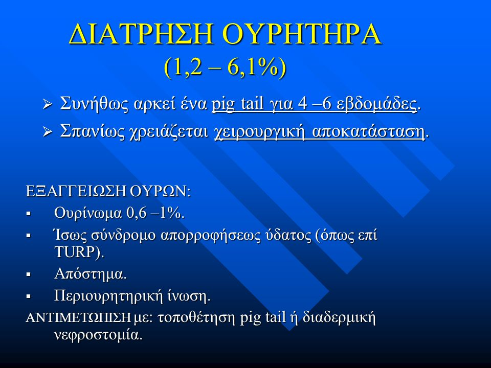 ΔΙΑΤΡΗΣΗ ΟΥΡΗΤΗΡΑ (1,2 – 6,1%)