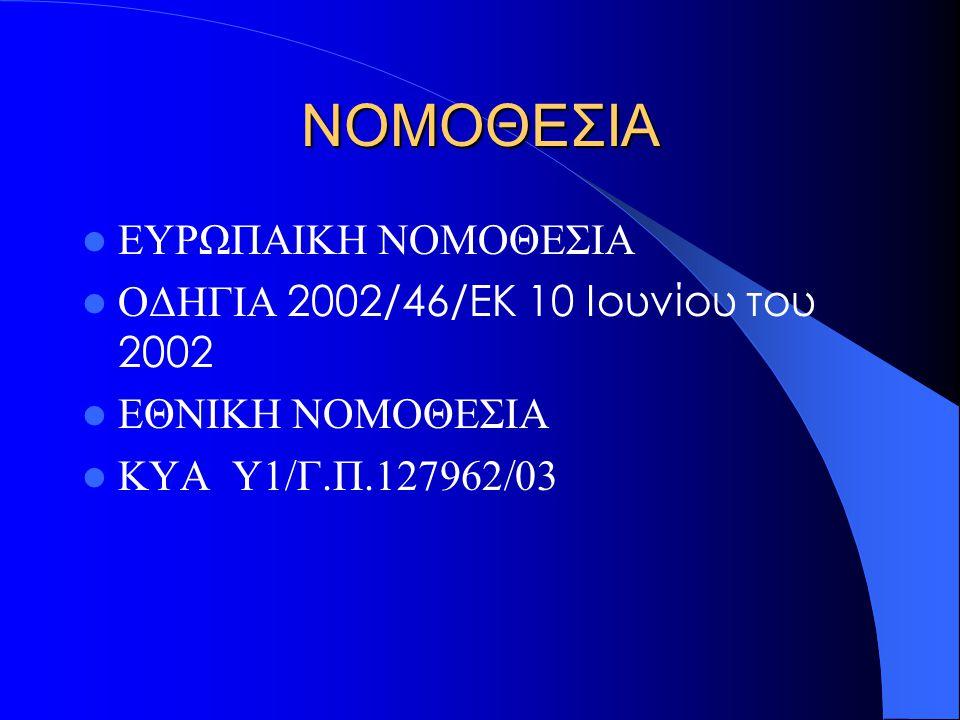 ΝΟΜΟΘΕΣΙΑ ΕΥΡΩΠΑΙΚΗ ΝΟΜΟΘΕΣΙΑ ΟΔΗΓΙΑ 2002/46/ΕΚ 10 Ιουνίου του 2002