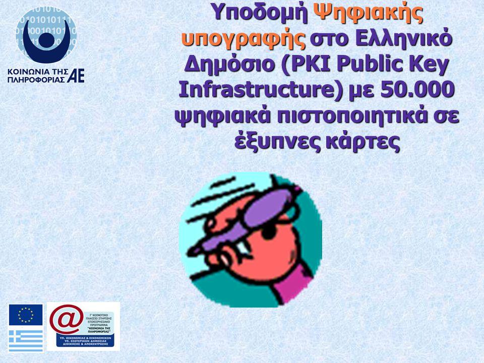 Υποδομή Ψηφιακής υπογραφής στο Ελληνικό Δημόσιο (PKI Public Key Infrastructure) με 50.000 ψηφιακά πιστοποιητικά σε έξυπνες κάρτες