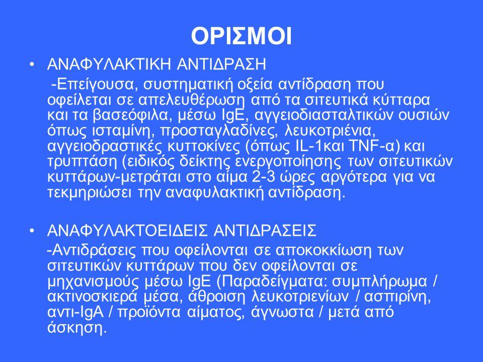 ΟΡΙΣΜΟΙ ΑΝΑΦΥΛΑΚΤΙΚΗ ΑΝΤΙΔΡΑΣΗ