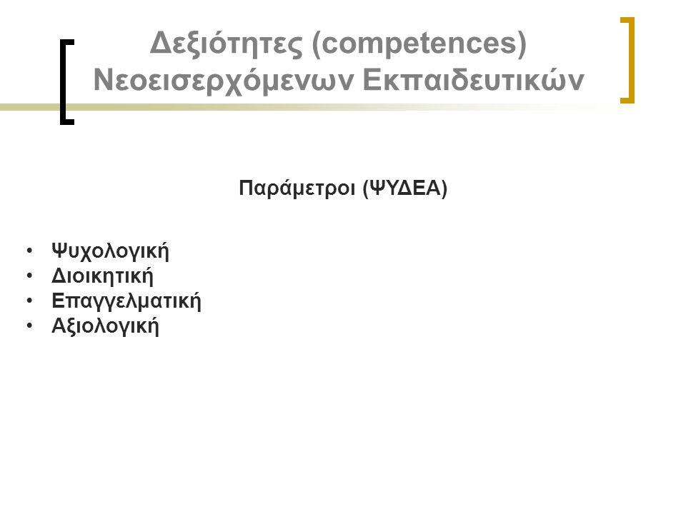 Δεξιότητες (competences) Νεοεισερχόμενων Εκπαιδευτικών
