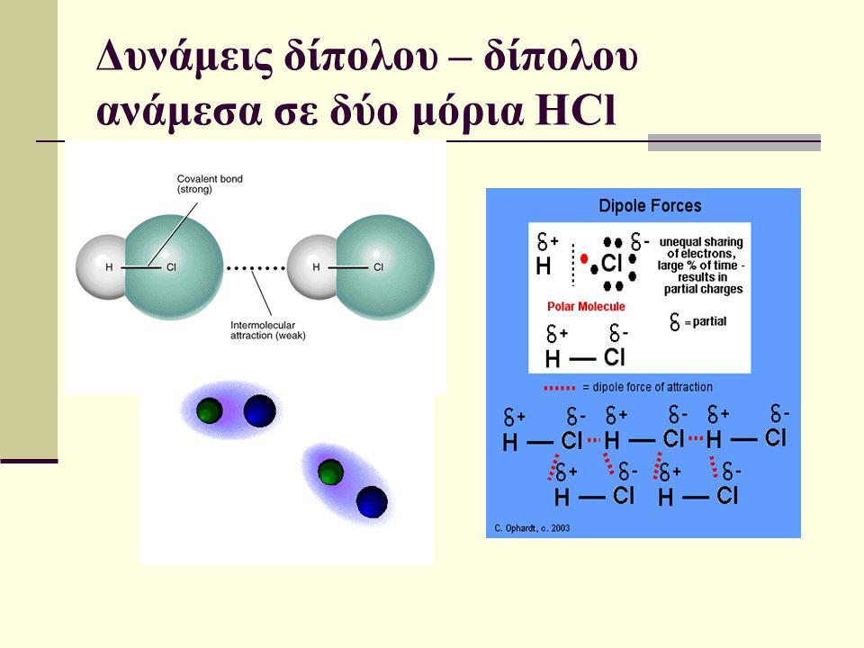 Δυνάμεις δίπολου – δίπολου ανάμεσα σε δύο μόρια HCl