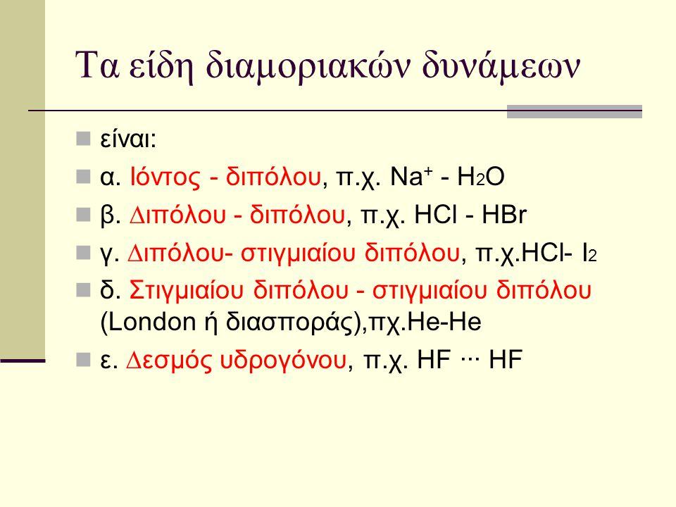 Τα είδη διαµοριακών δυνάµεων