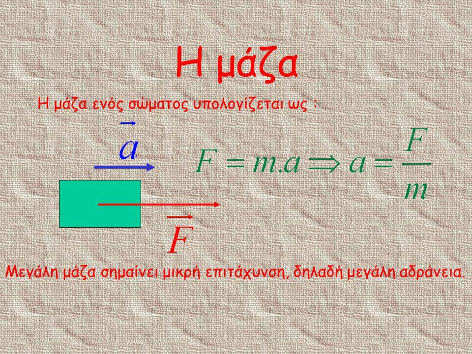 Η μάζα Η μάζα ενός σώματος υπολογίζεται ως :