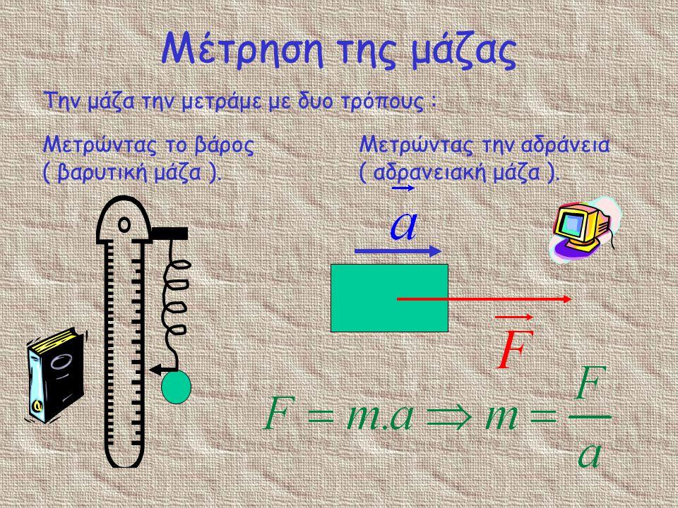 Μέτρηση της μάζας Την μάζα την μετράμε με δυο τρόπους :