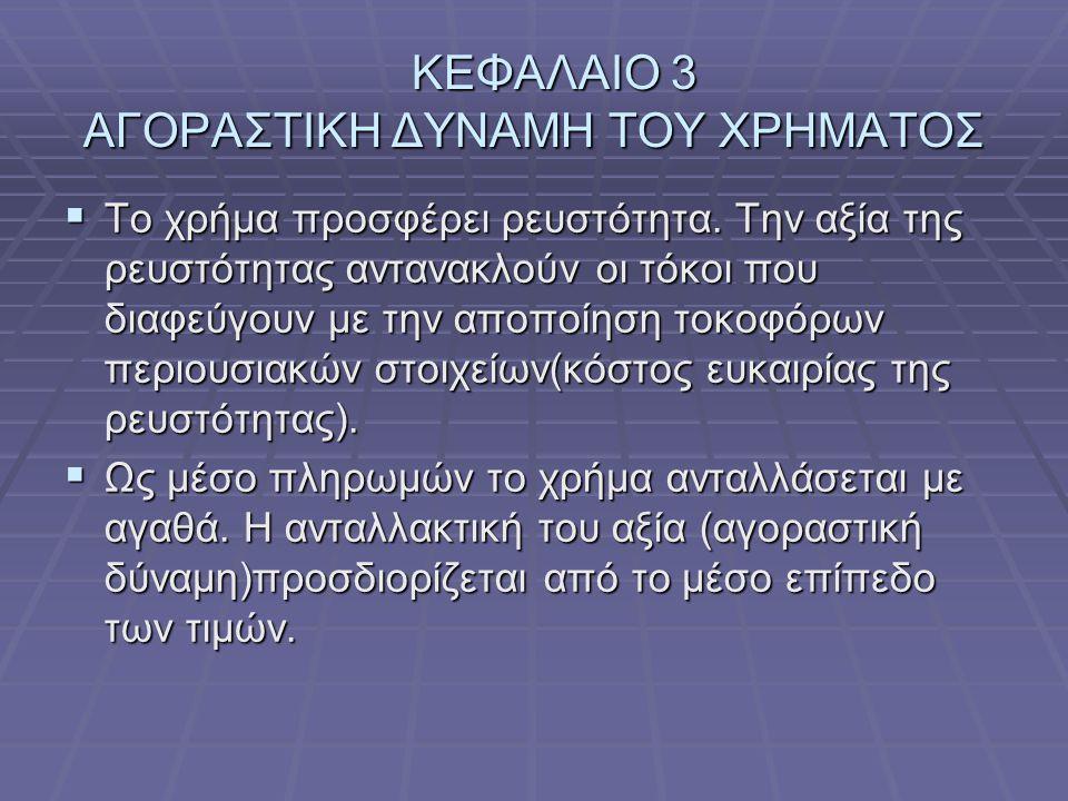 ΚΕΦΑΛΑΙΟ 3 ΑΓΟΡΑΣΤΙΚΗ ΔΥΝΑΜΗ ΤΟΥ ΧΡΗΜΑΤΟΣ