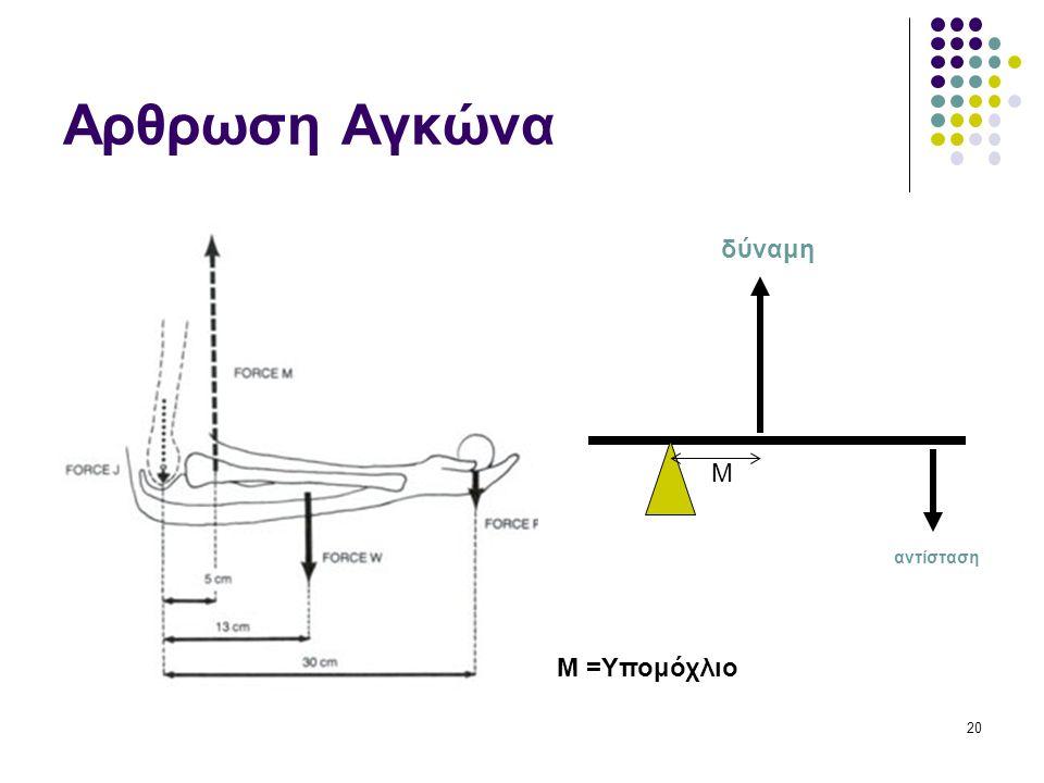 Αρθρωση Αγκώνα δύναμη M αντίσταση M =Υπομόχλιο 20