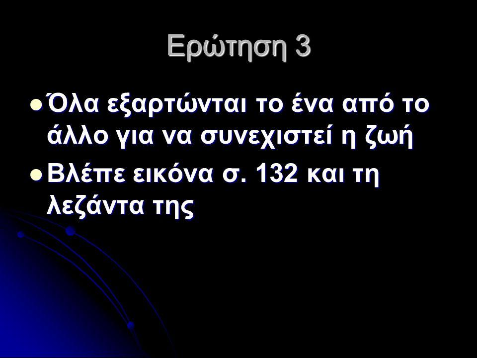 Ερώτηση 3 Όλα εξαρτώνται το ένα από το άλλο για να συνεχιστεί η ζωή