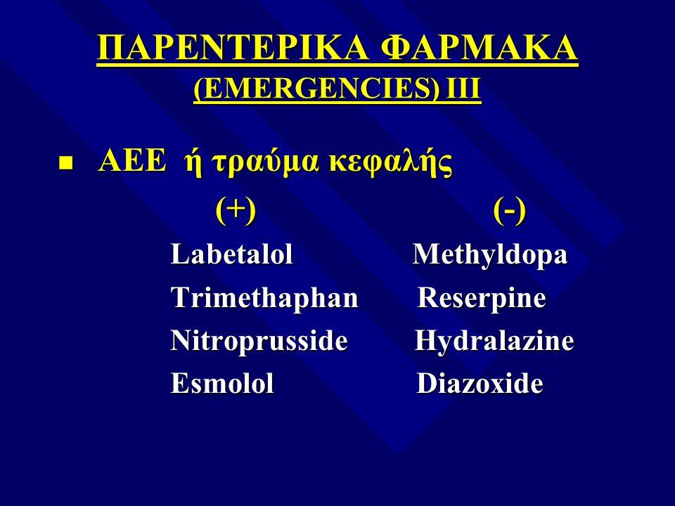 ΠΑΡΕΝΤΕΡΙΚΑ ΦΑΡΜΑΚΑ (EMERGENCIES) III