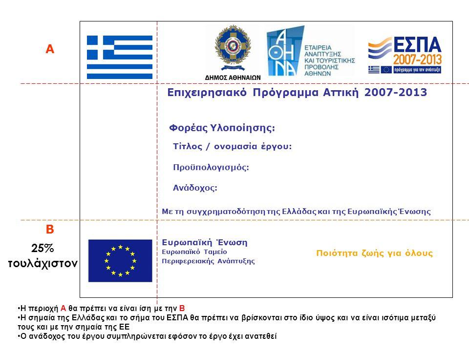 Επιχειρησιακό Πρόγραμμα Αττική 2007-2013 Ποιότητα ζωής για όλους