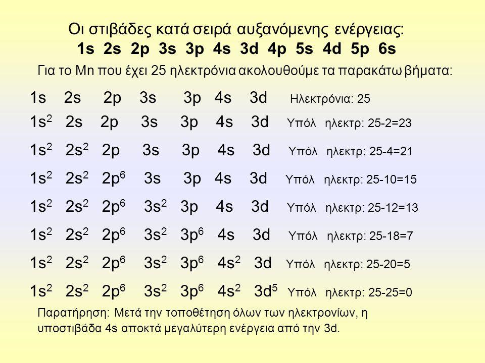 1s2 2s 2p 3s 3p 4s 3d Υπόλ ηλεκτρ: 25-2=23