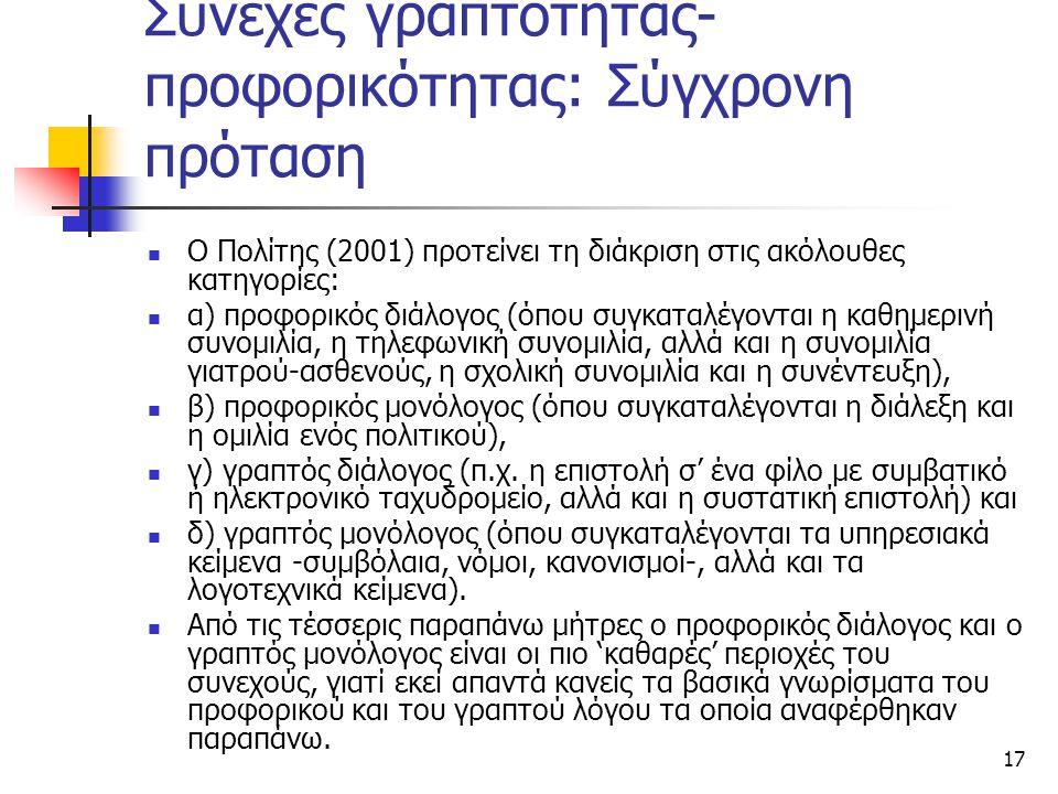 Συνεχές γραπτότητας- προφορικότητας: Σύγχρονη πρόταση