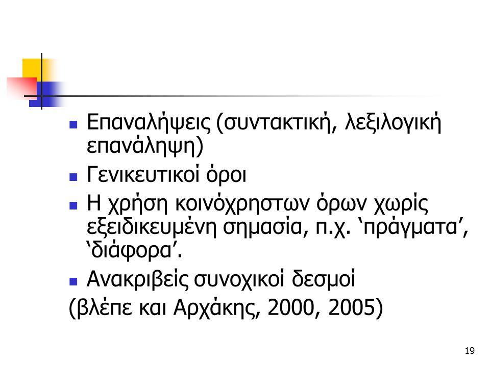 Επαναλήψεις (συντακτική, λεξιλογική επανάληψη)