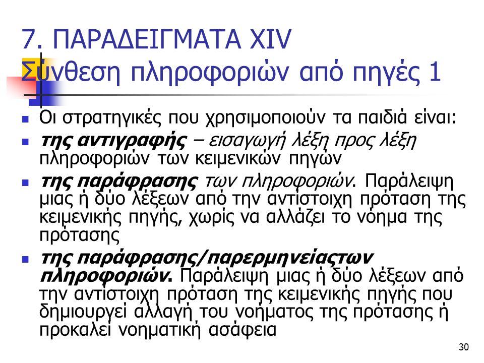 7. ΠΑΡΑΔΕΙΓΜΑΤΑ ΧΙV Σύνθεση πληροφοριών από πηγές 1