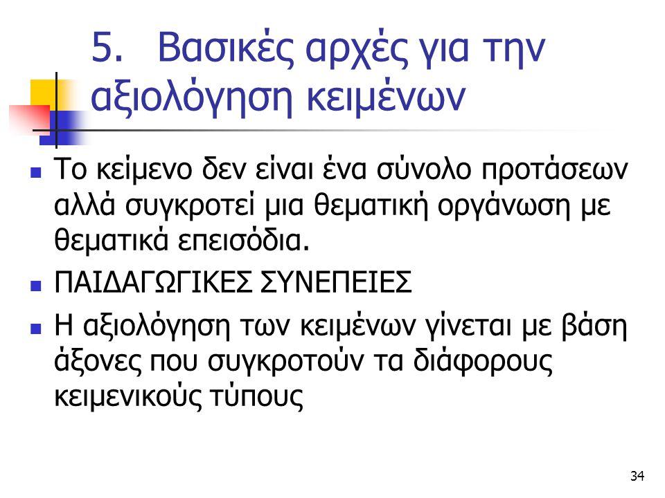 5. Βασικές αρχές για την αξιολόγηση κειμένων