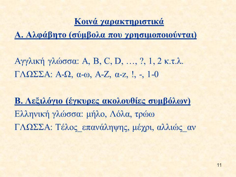 Κοινά χαρακτηριστικά A. Αλφάβητο (σύμβολα που χρησιμοποιούνται) Αγγλική γλώσσα: A, B, C, D, …, , 1, 2 κ.τ.λ.