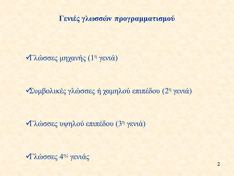 Γενιές γλωσσών προγραμματισμού