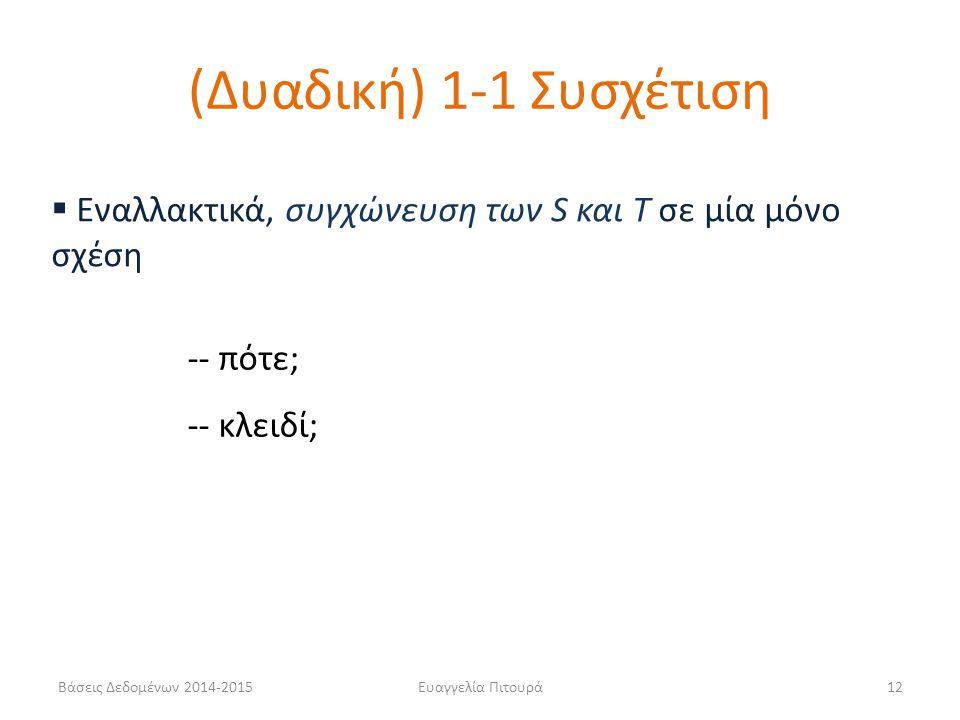 (Δυαδική) 1-1 Συσχέτιση Εναλλακτικά, συγχώνευση των S και T σε μία μόνο σχέση. -- πότε; -- κλειδί;