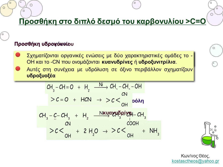 Προσθήκη στο διπλό δεσμό του καρβονυλίου >C=Ο