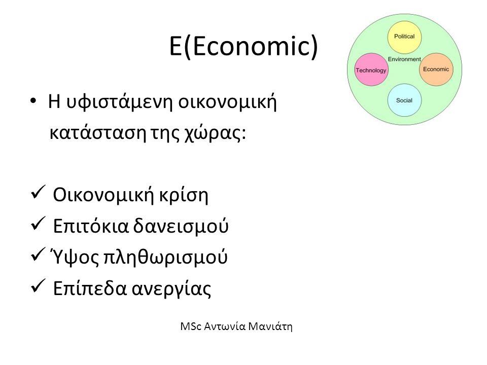 Ε(Economic) Η υφιστάμενη οικονομική κατάσταση της χώρας: